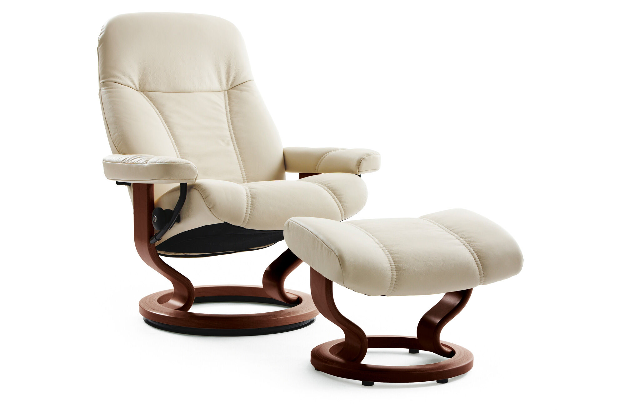 Leather Medium Swivel Chair And Ottoman In Cream Mathis
