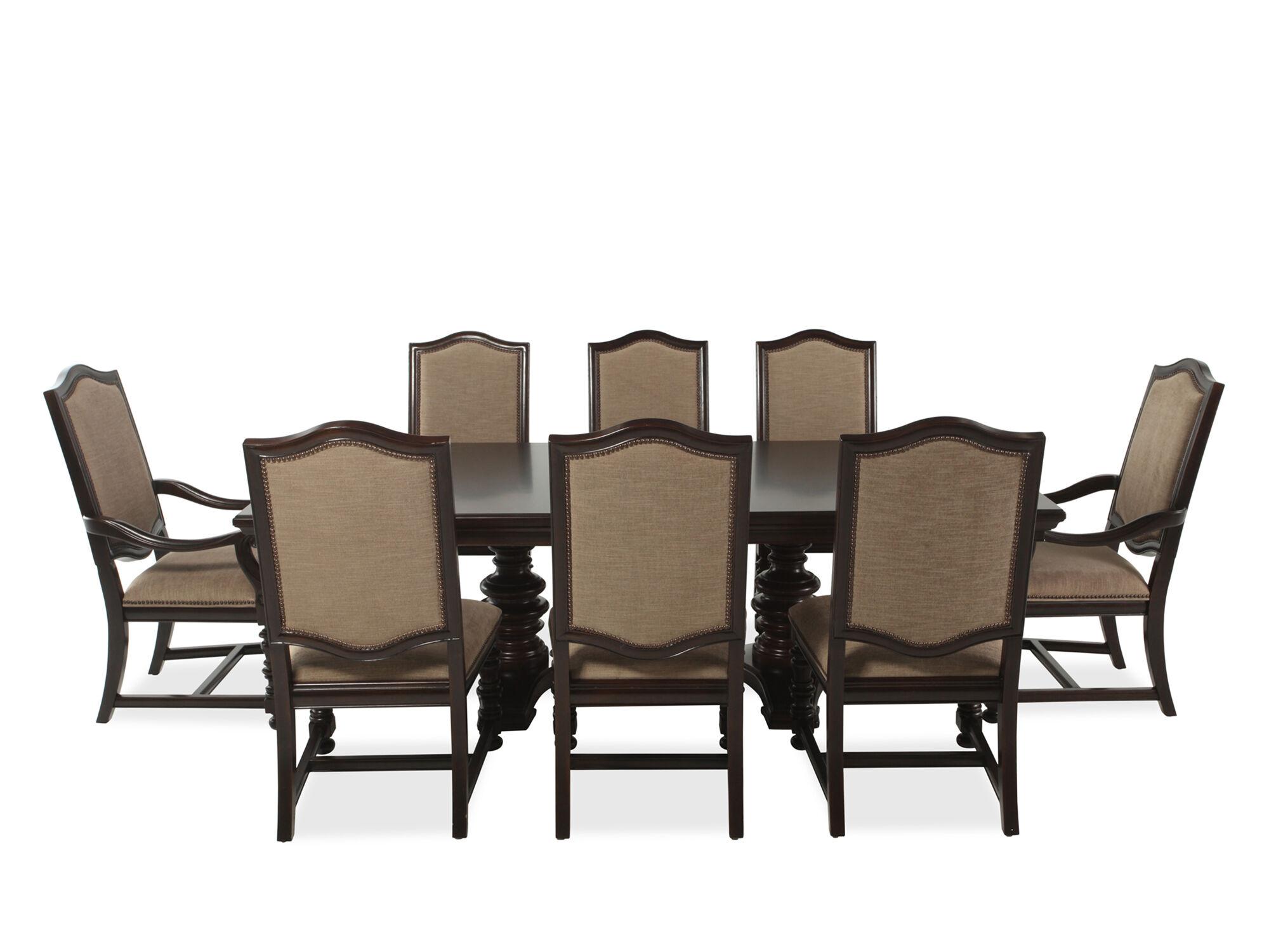 nine piece transitional 76 dining set