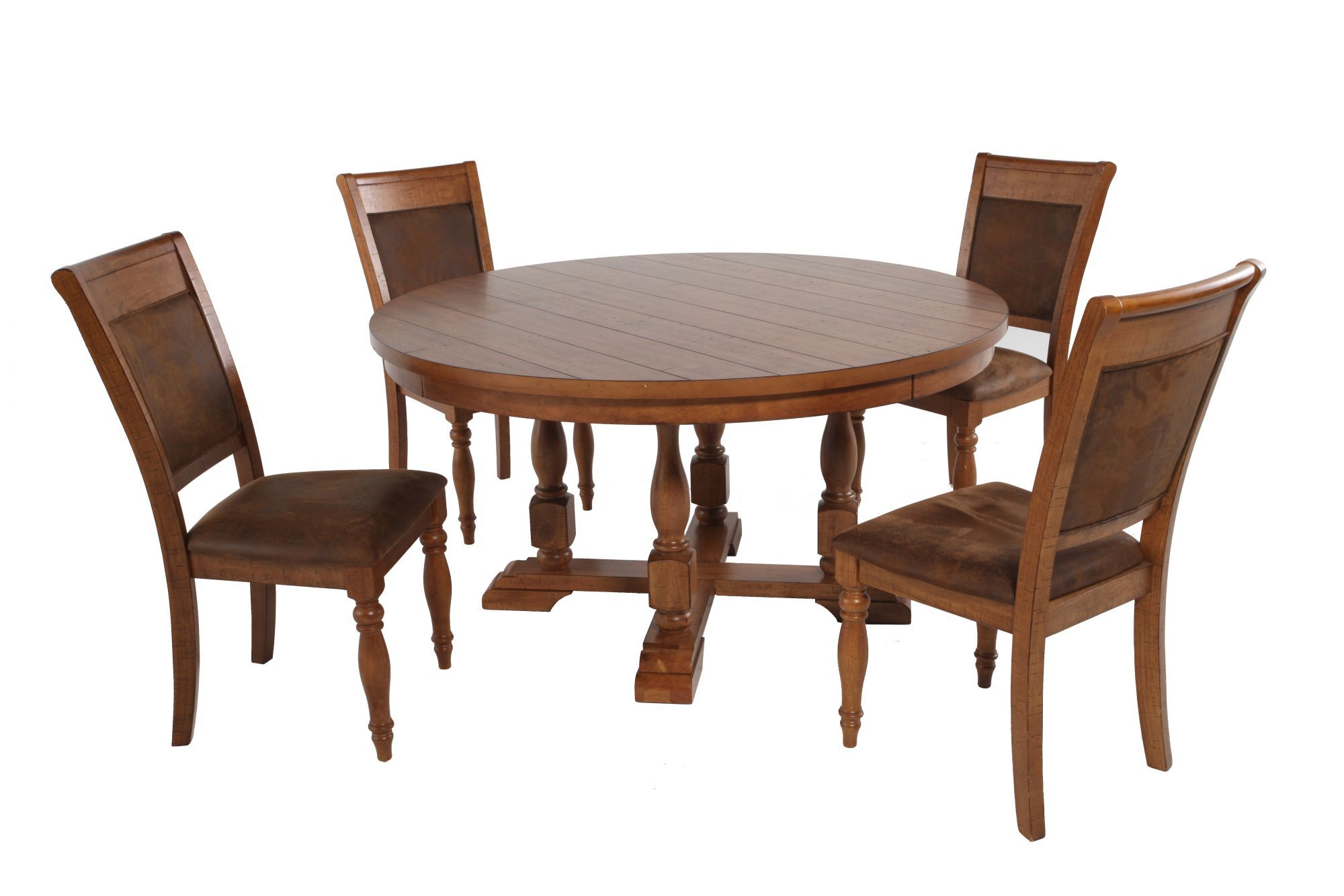 Five Piece Round Extension 58 Dining Set In Brown Mathis Brothers Furniture