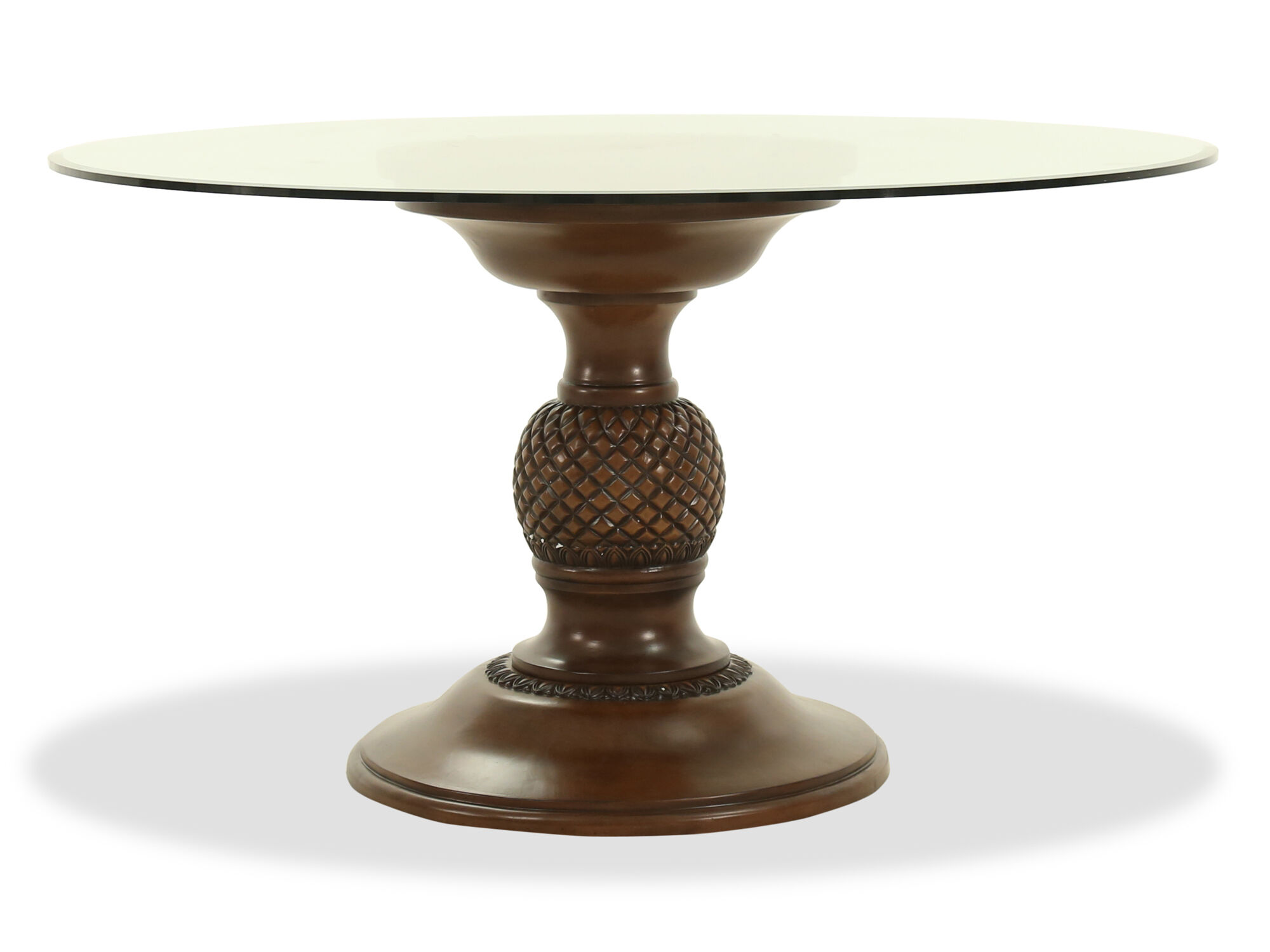 Traditional 54 Round Glass Top Dining Table In Medium