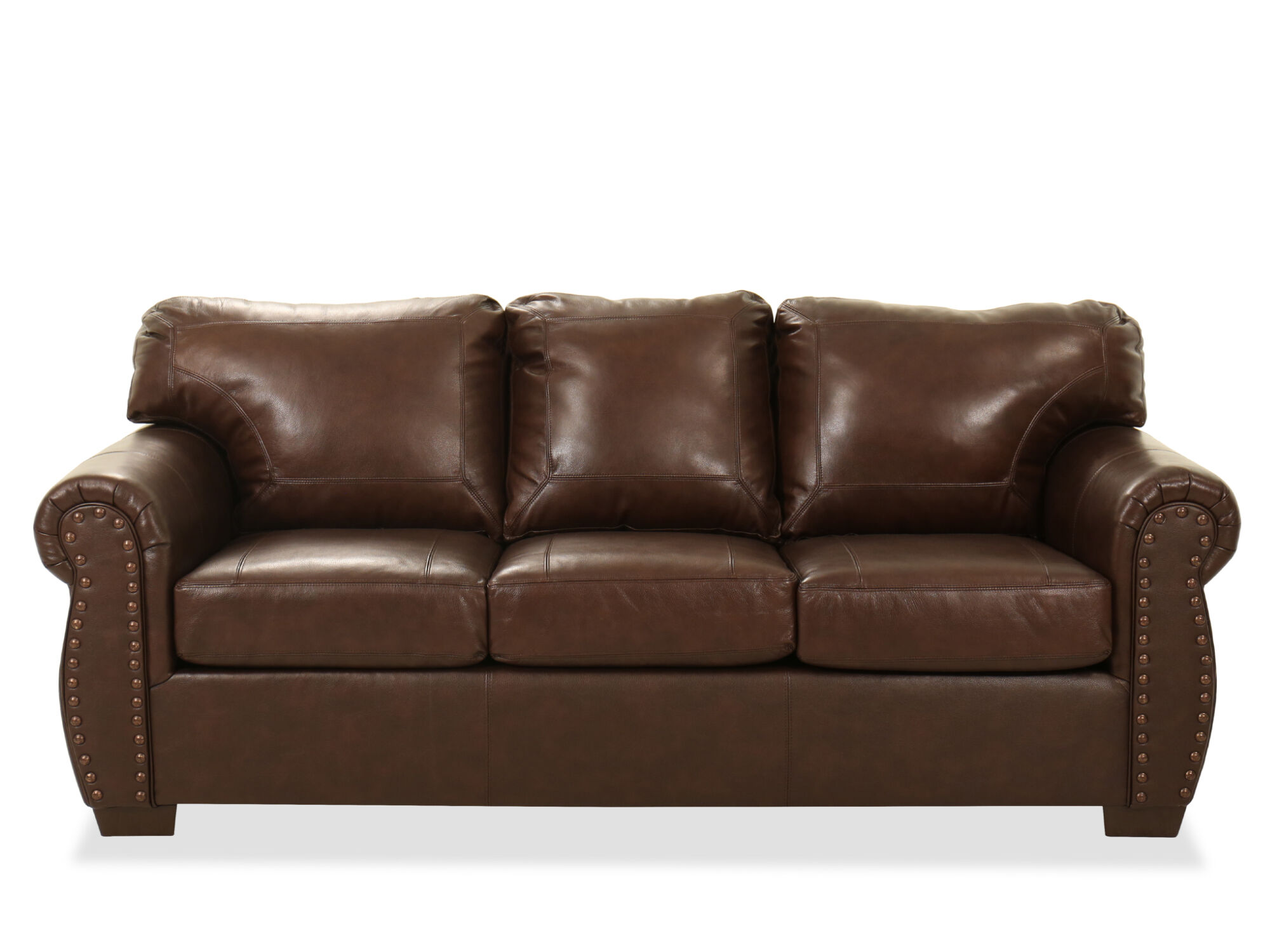 nailhead accent leather 90 sofa in