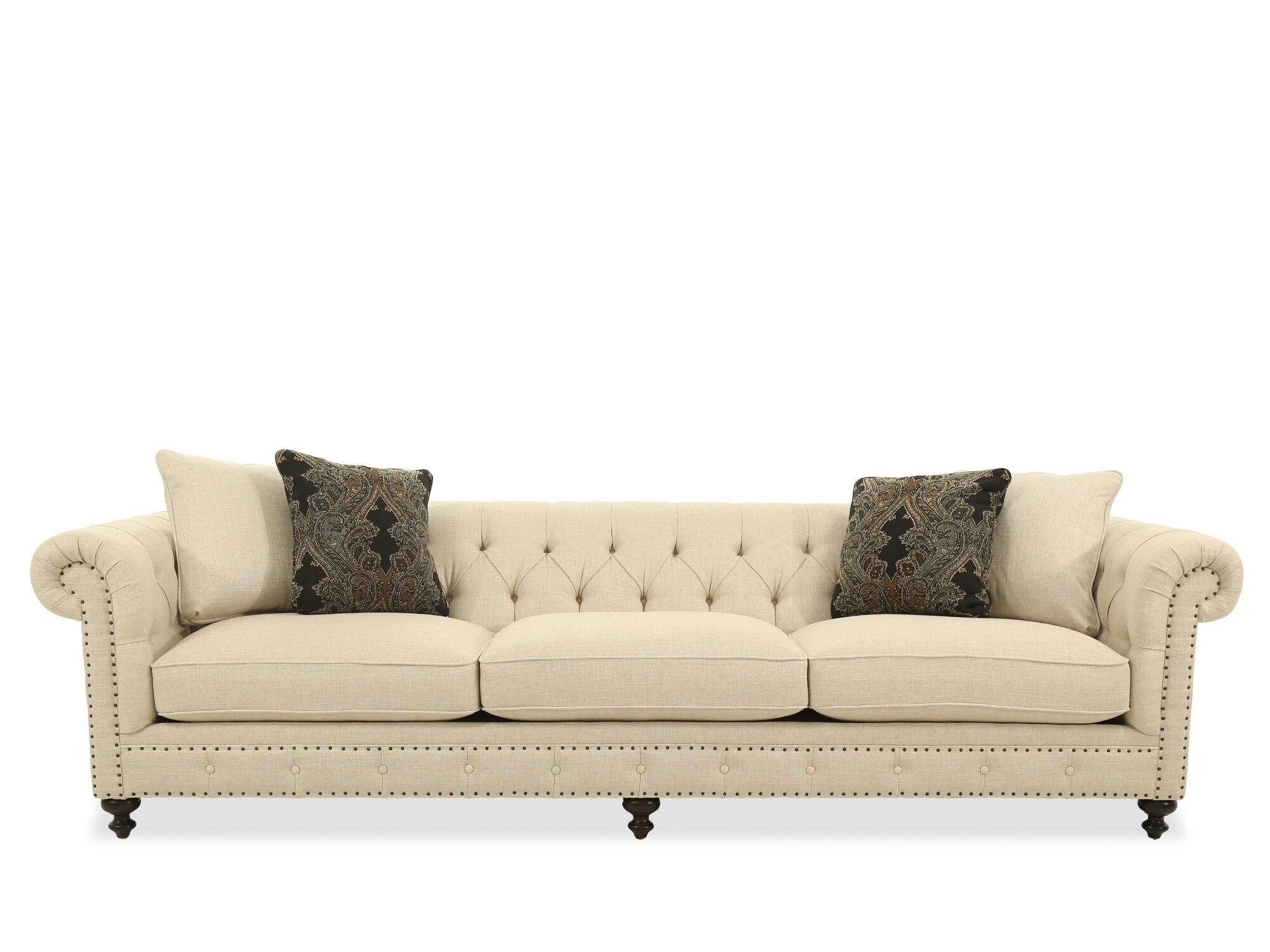 images button tufted 116 5 quot rolled arm sofa
