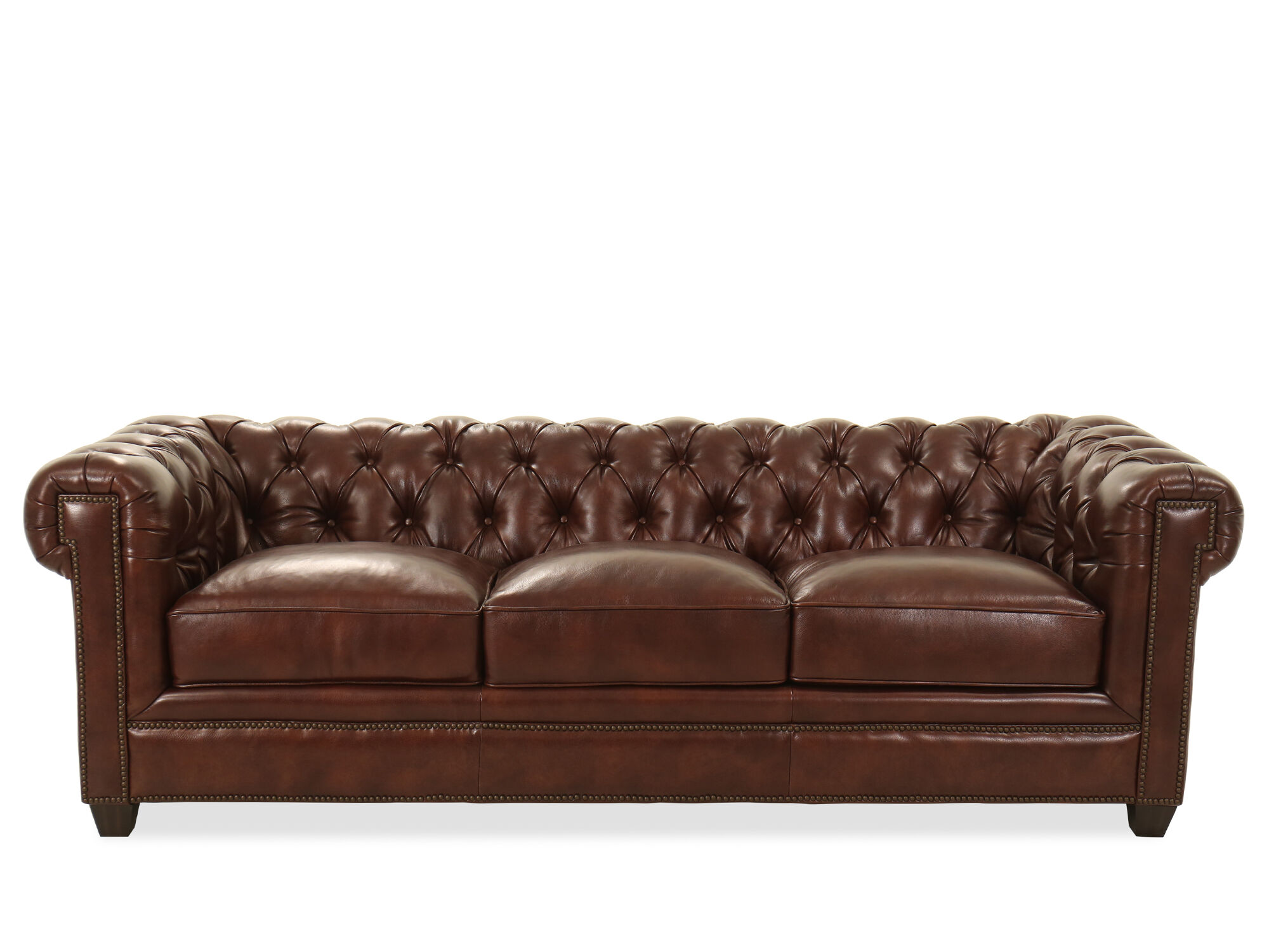 94 Quot Tufted Leather Chesterfield Sofa In Milano Fudge