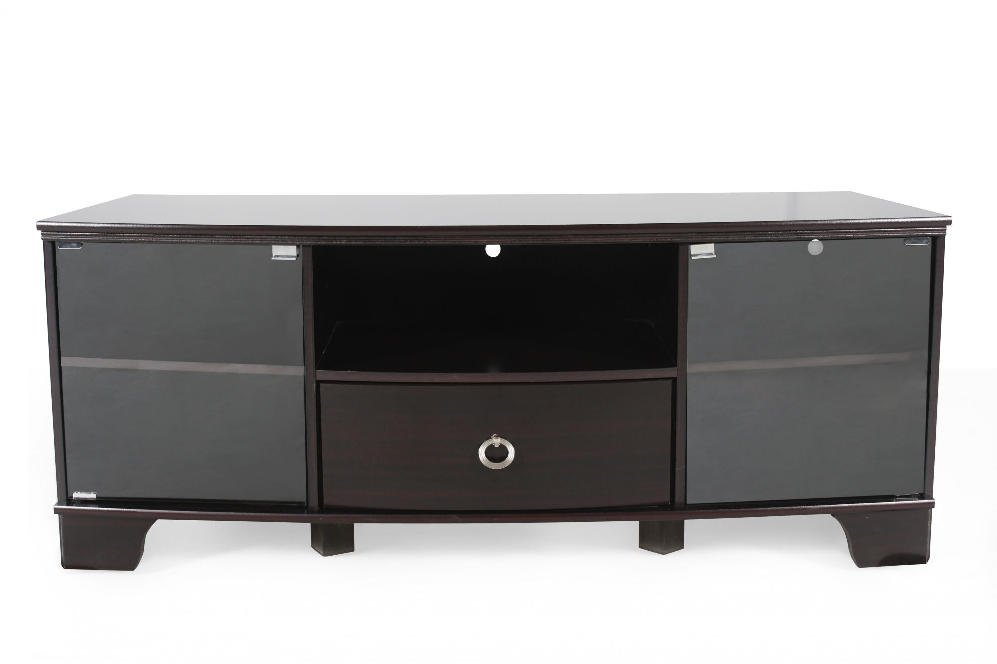 Silver Ring Pull Drawer Contemporary TV Console In Dark
