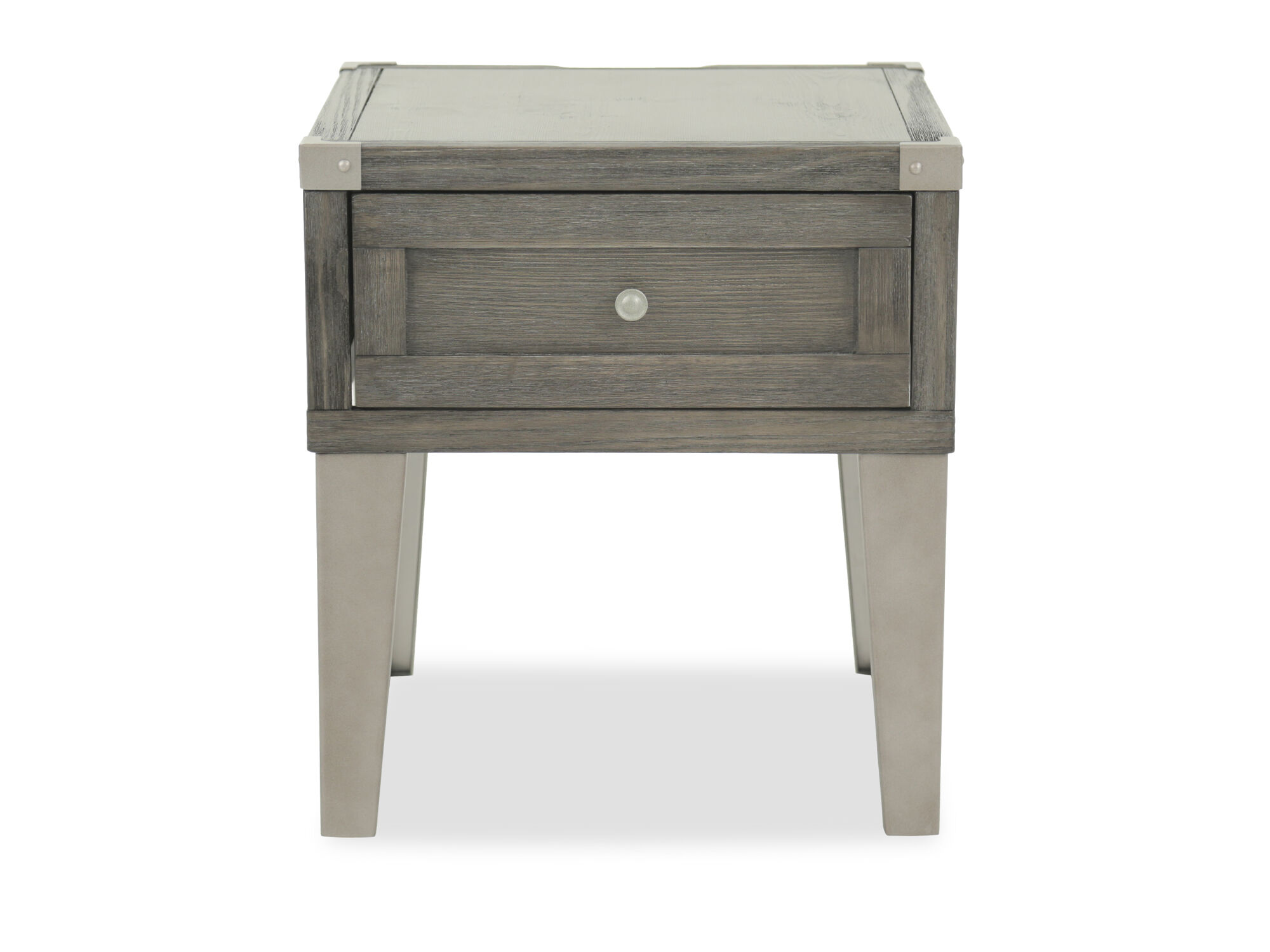 Contemporary Weathered End Table With USB Port In Dark