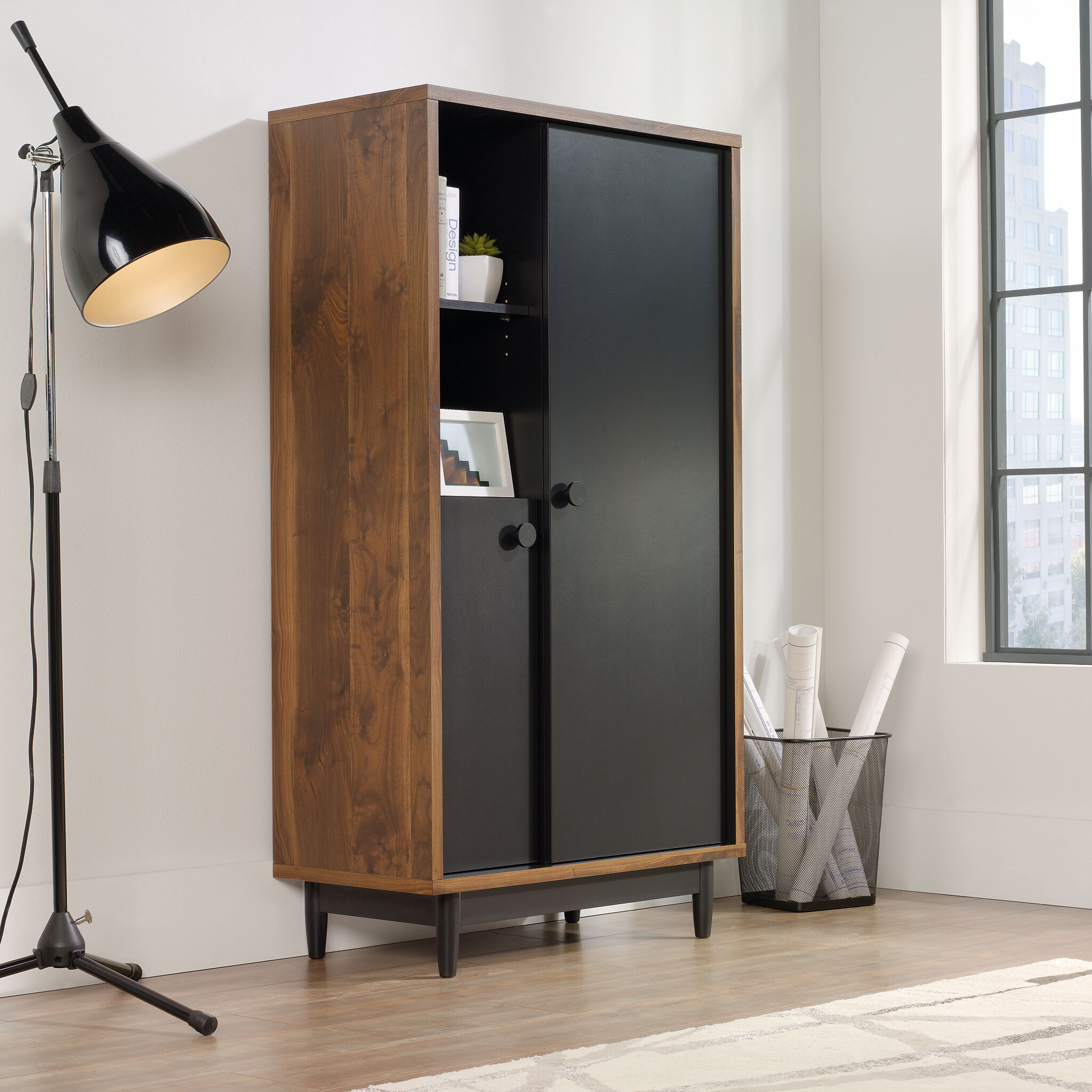 60 Two Door Casual Storage Cabinet In Walnut Mathis