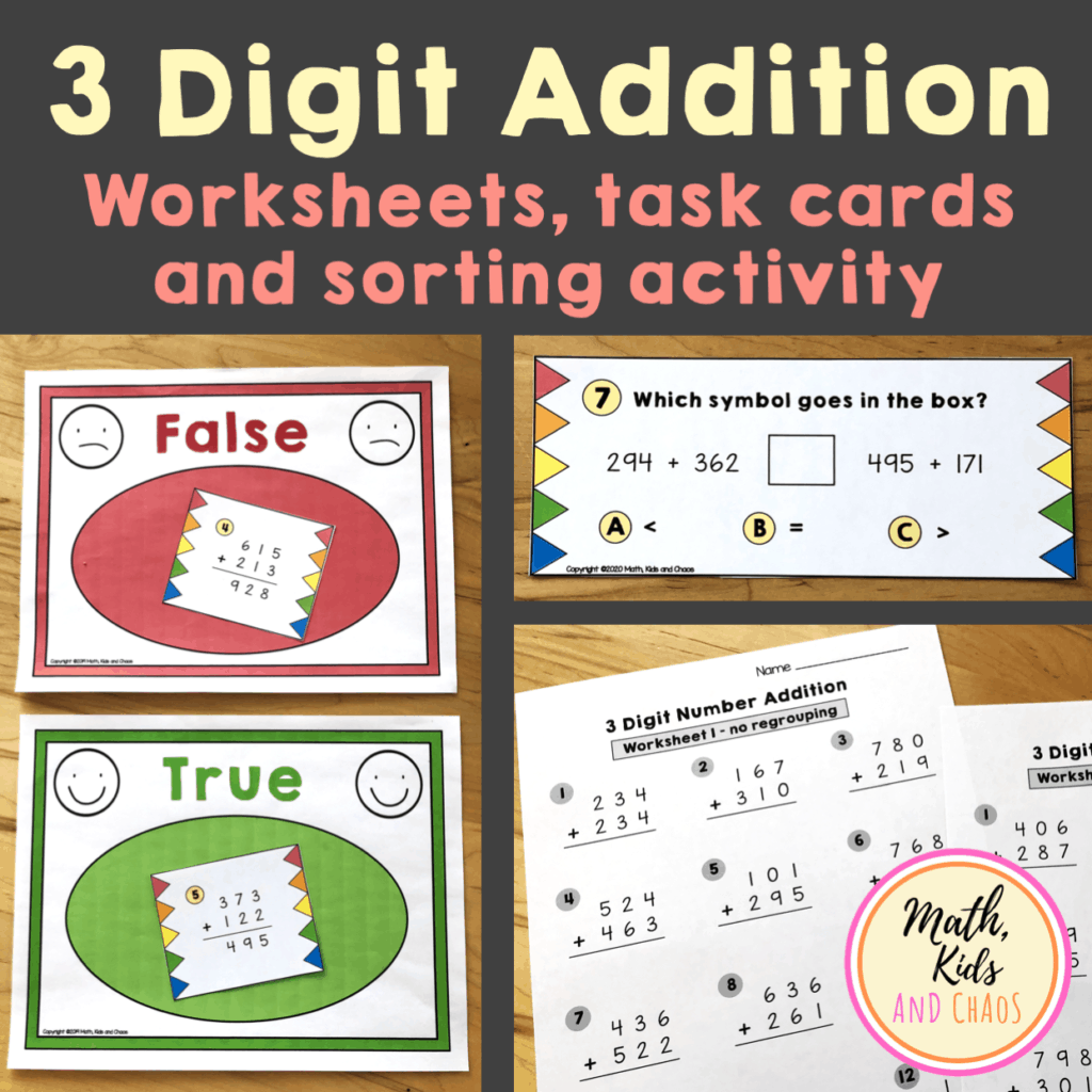 3 Digit Addition With Regrouping Worksheet Freebie