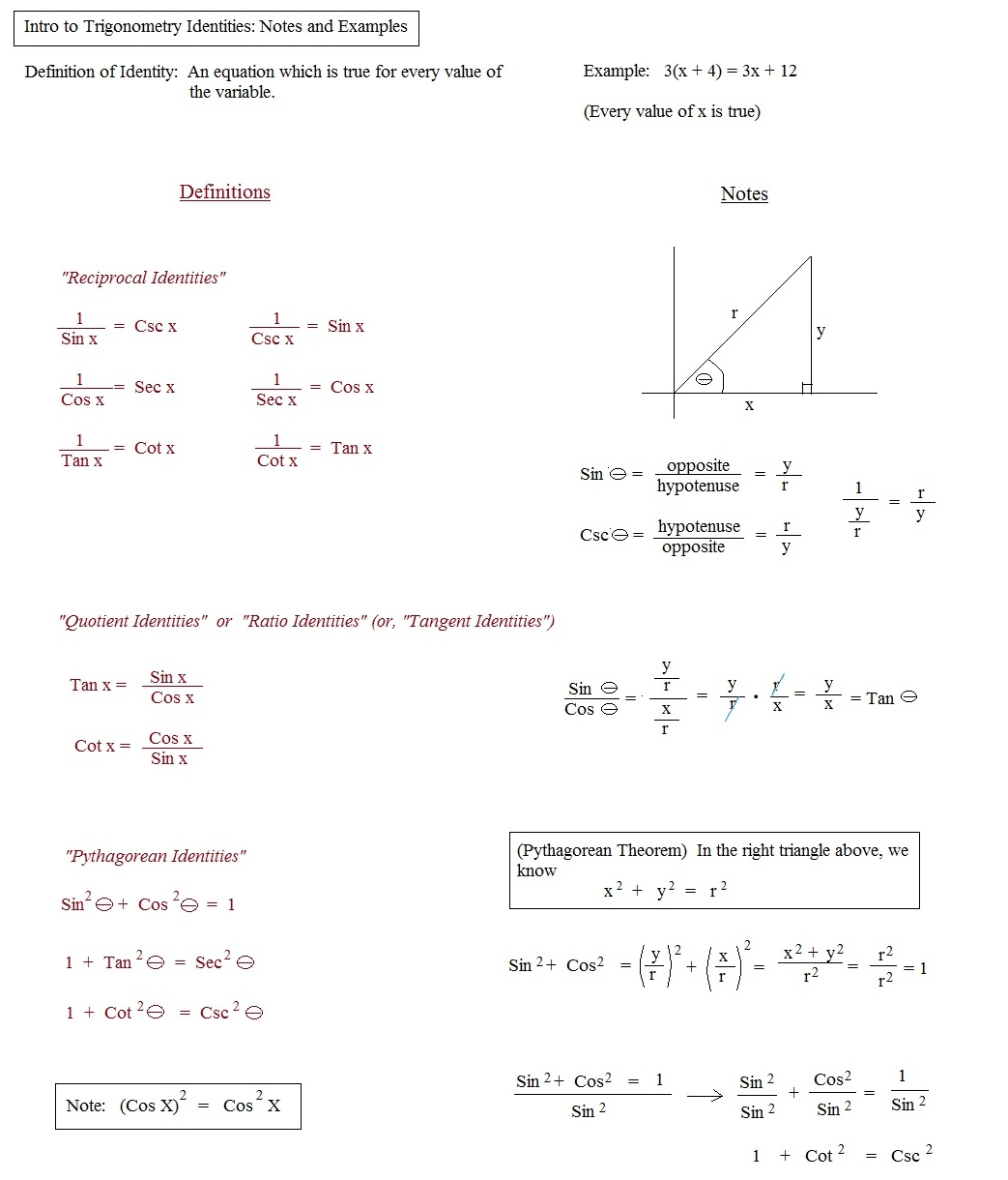 Trig Definitions Worksheet