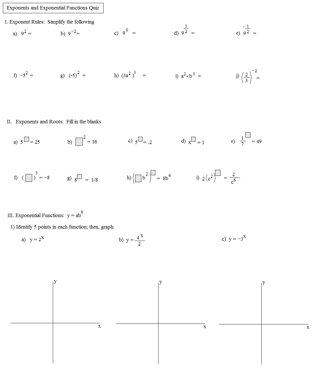 Worksheet Exponential Functions Worksheet Answers