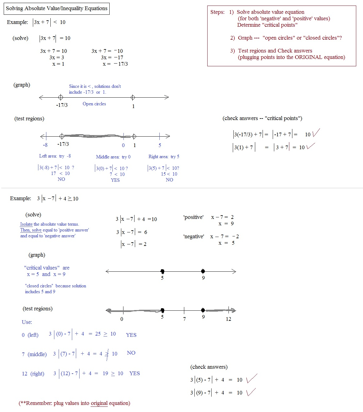 Absolute Value Equations And Inequalities Review Worksheet