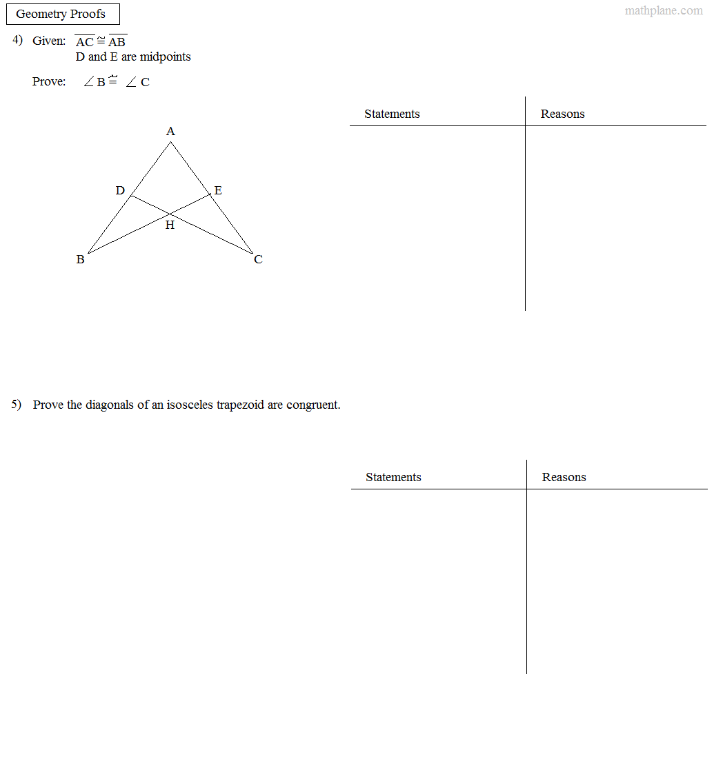 Proving Triangle Congruence Worksheet