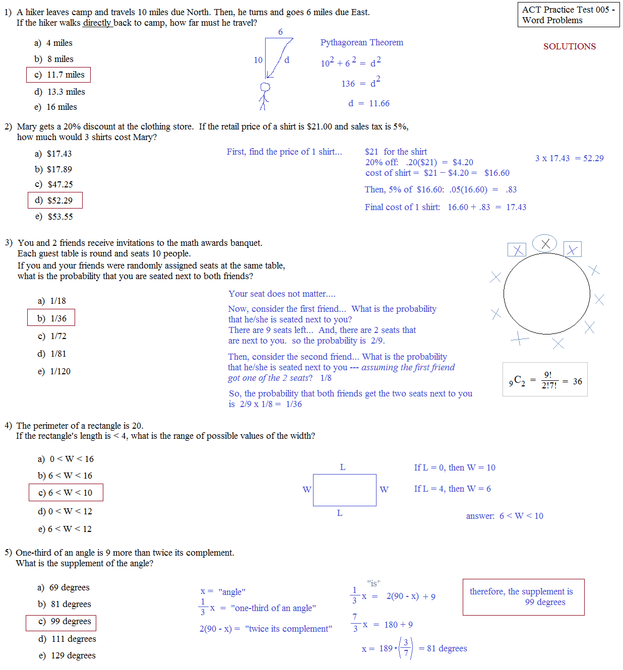 Practice Ged Math Word Problems Worksheet