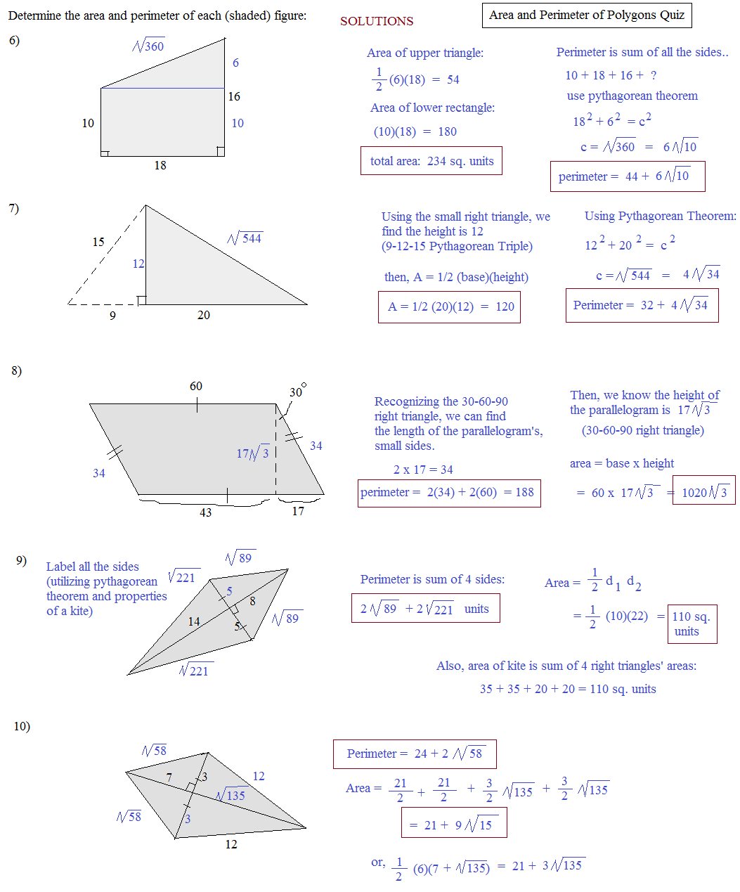 Polygon Perimeter Worksheet