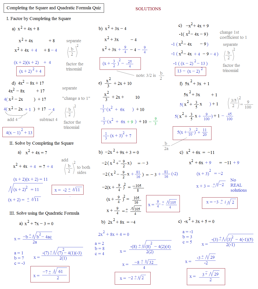 Completing The Square And Quadratic Formula Worksheet