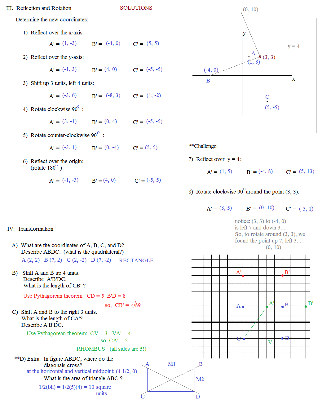 Multiple Geometric Transformations Worksheet