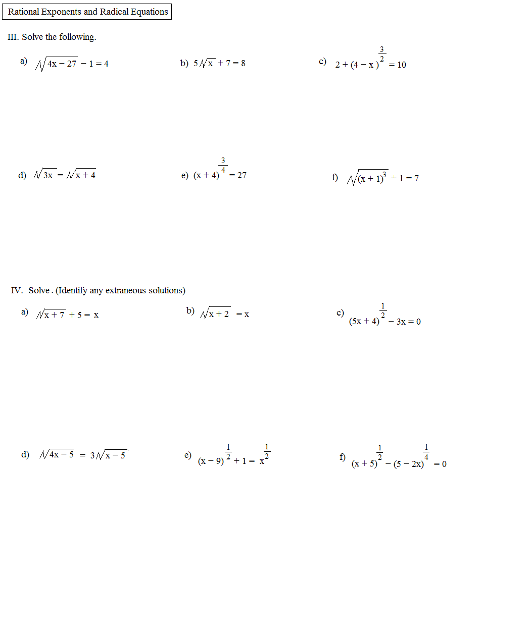 Fractional Exponents Worksheet