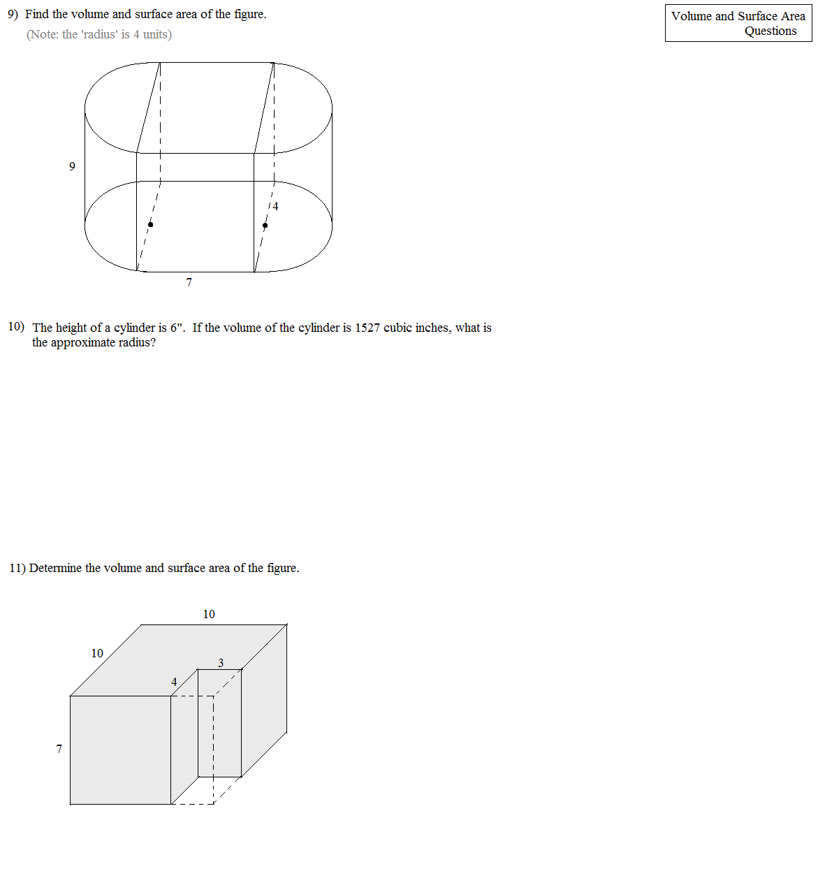 Worksheet Surface Area Of Prisms And Cylinders Worksheet
