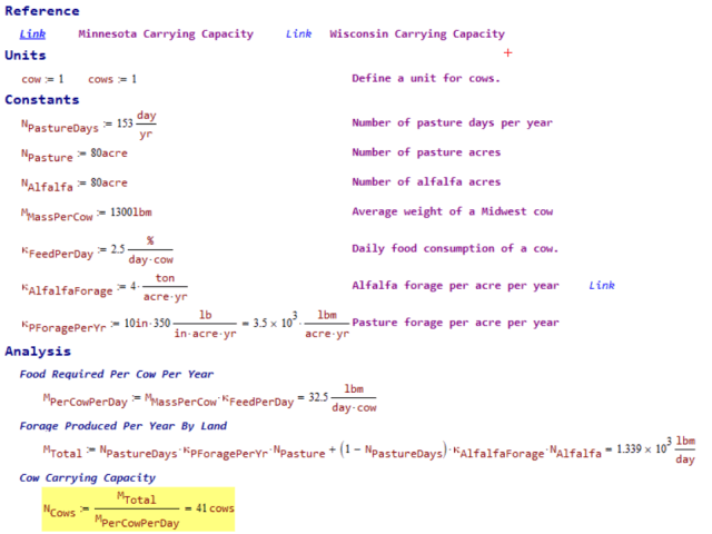 Carrying Capacity Calculations