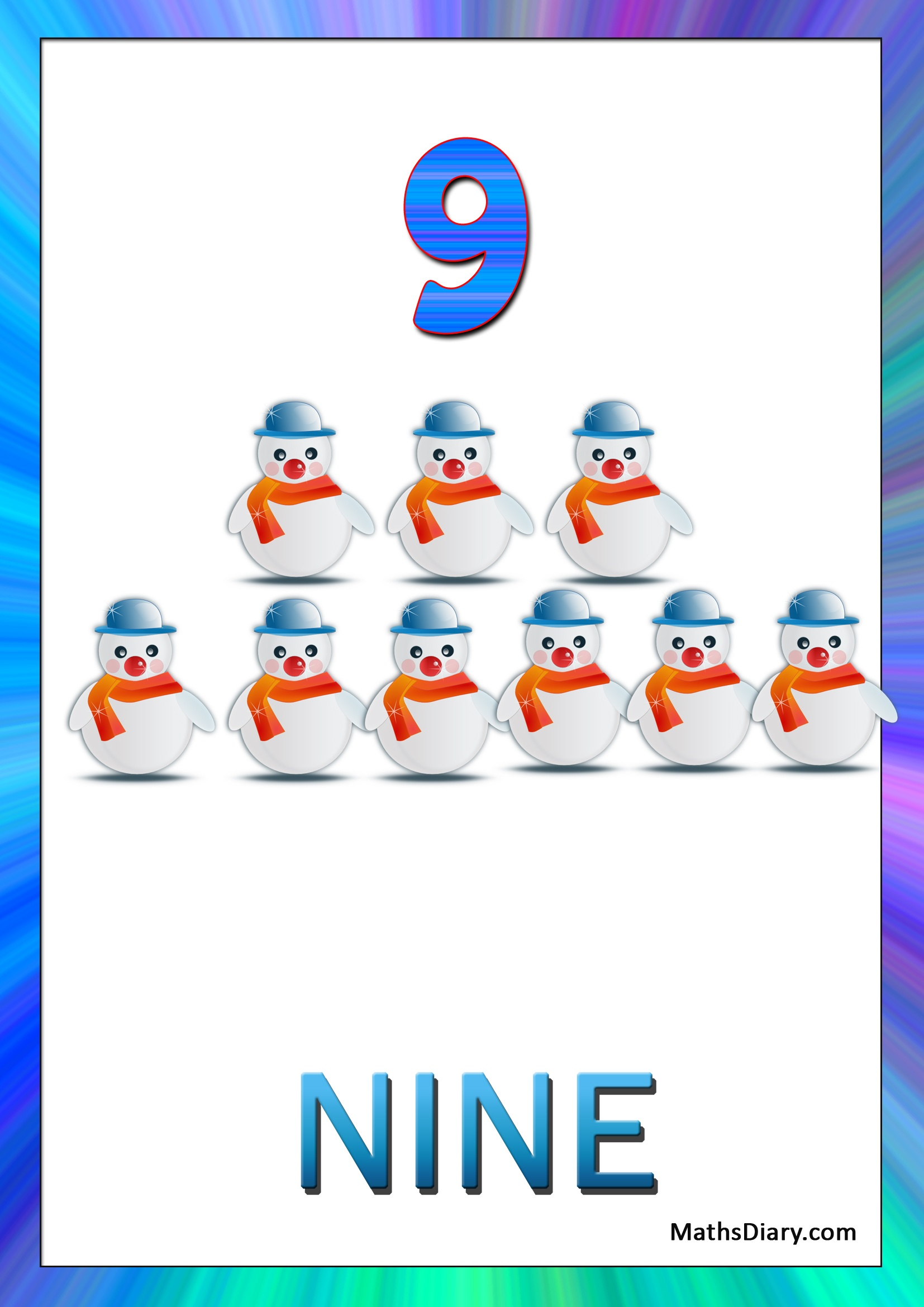 Learning Counting And Recognition Of Number 9 Worksheets Level 1 Help Sheets Part 4