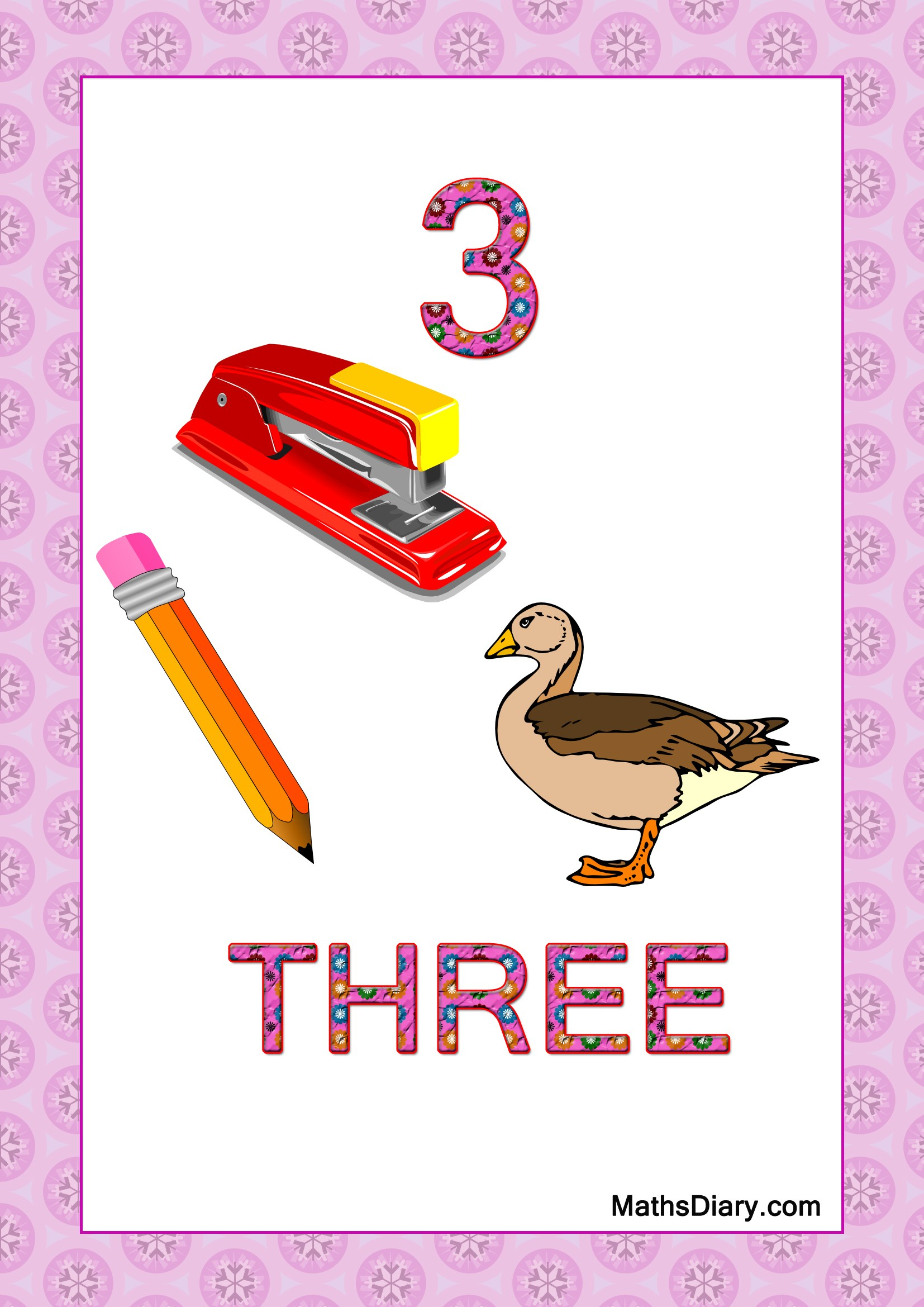 Learning Counting And Recognition Of Number 3 Level 3