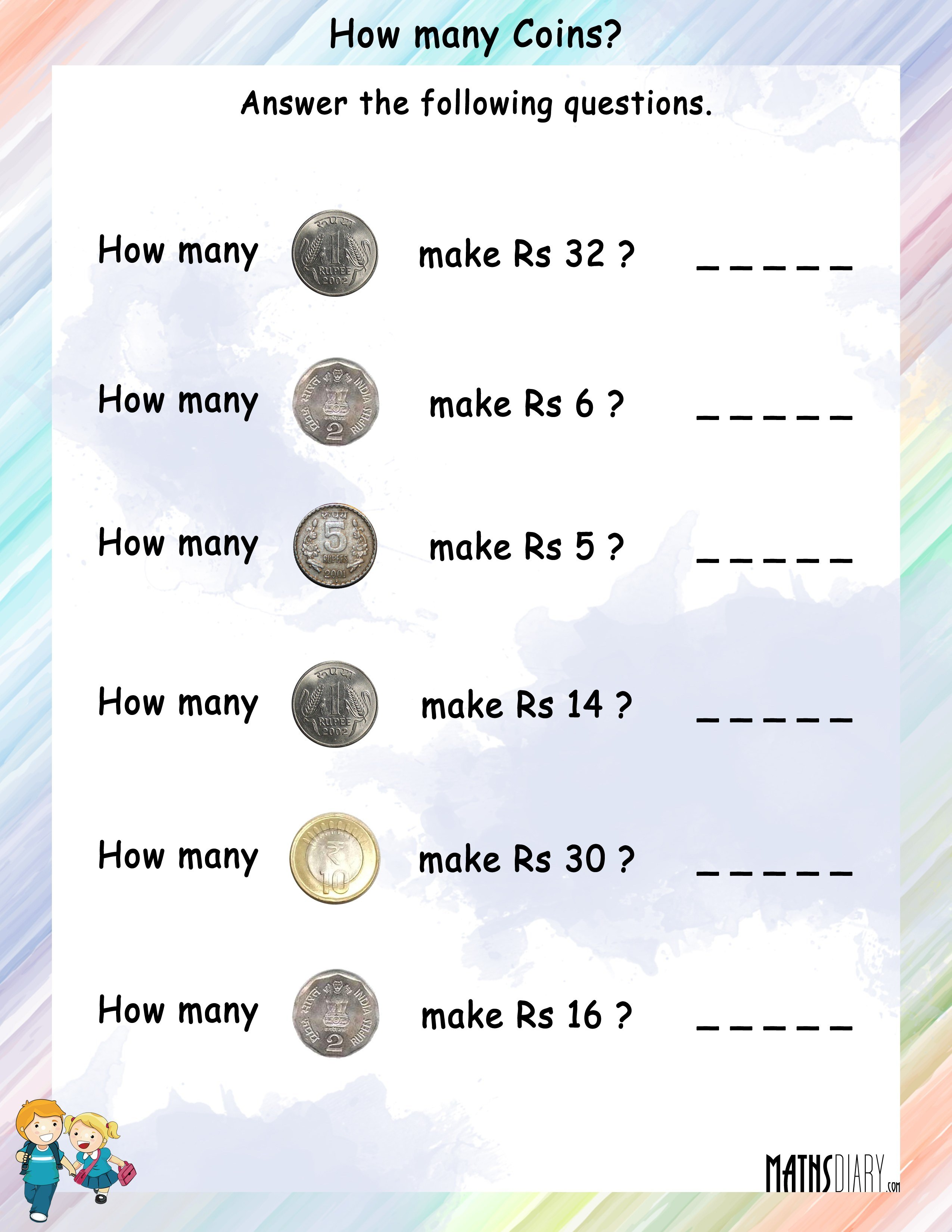 How Many Coins Will Be Needed To Make The Given Rupees Worksheets