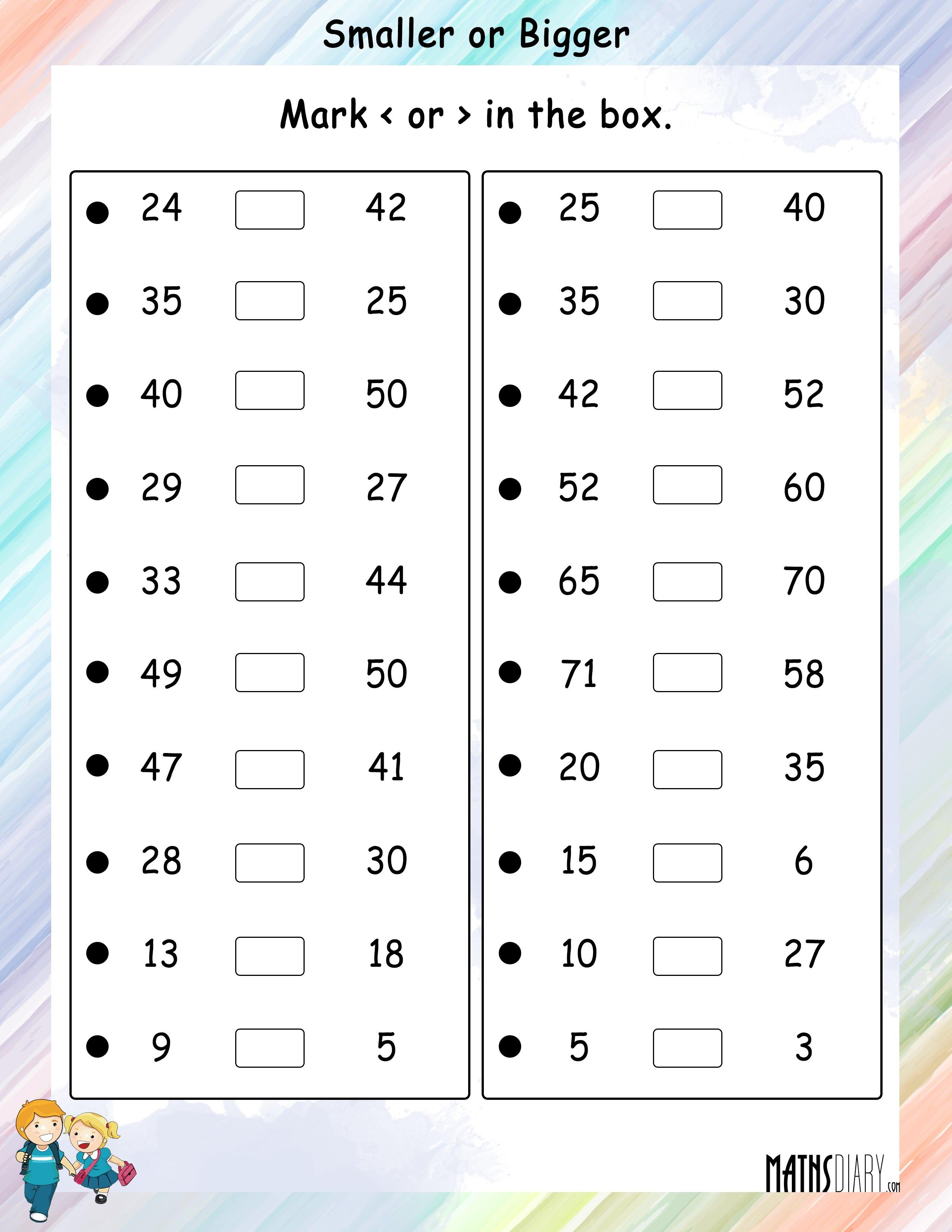 Comparing Grade 2 Math Worksheets