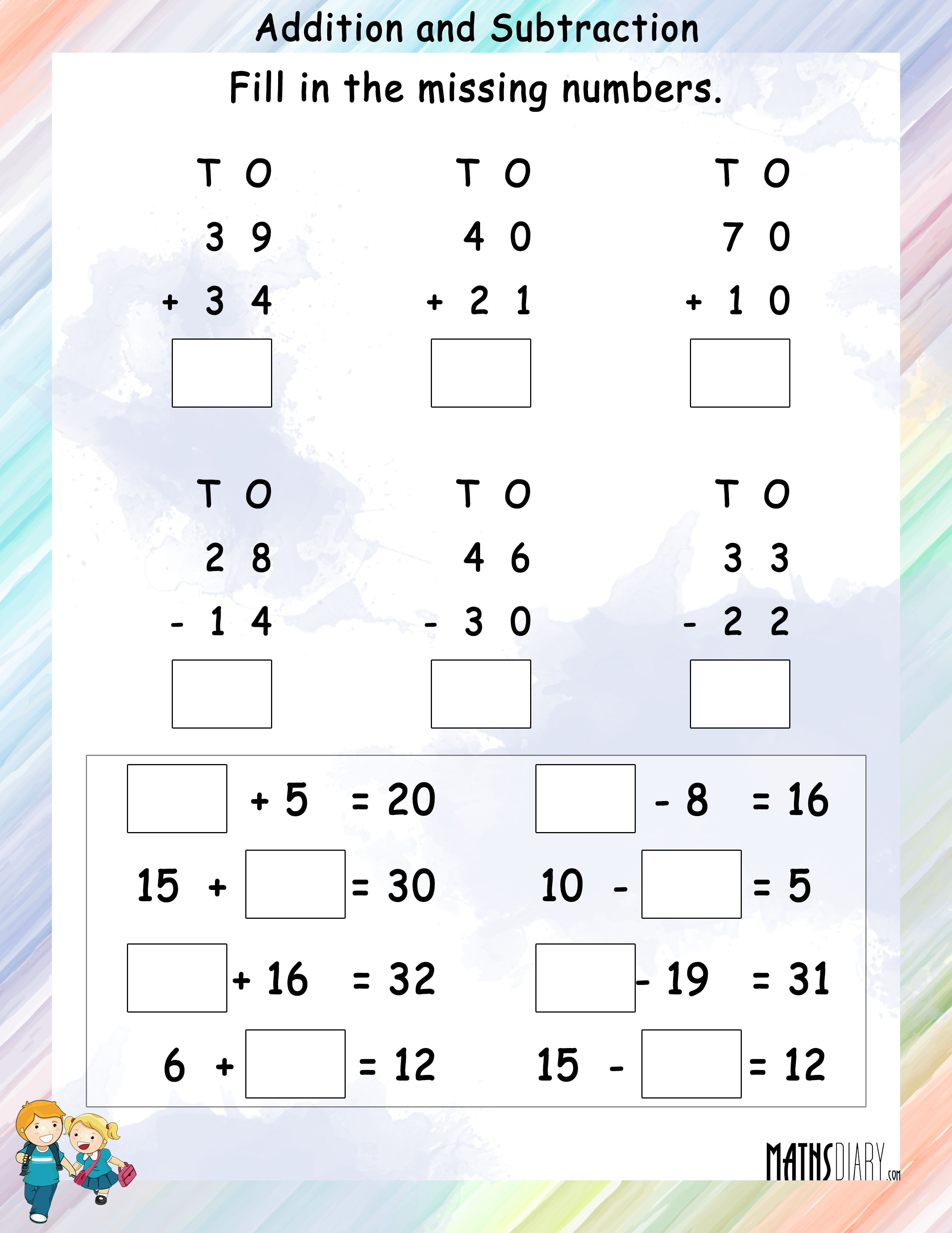 Addition Grade 1 Math Worksheets