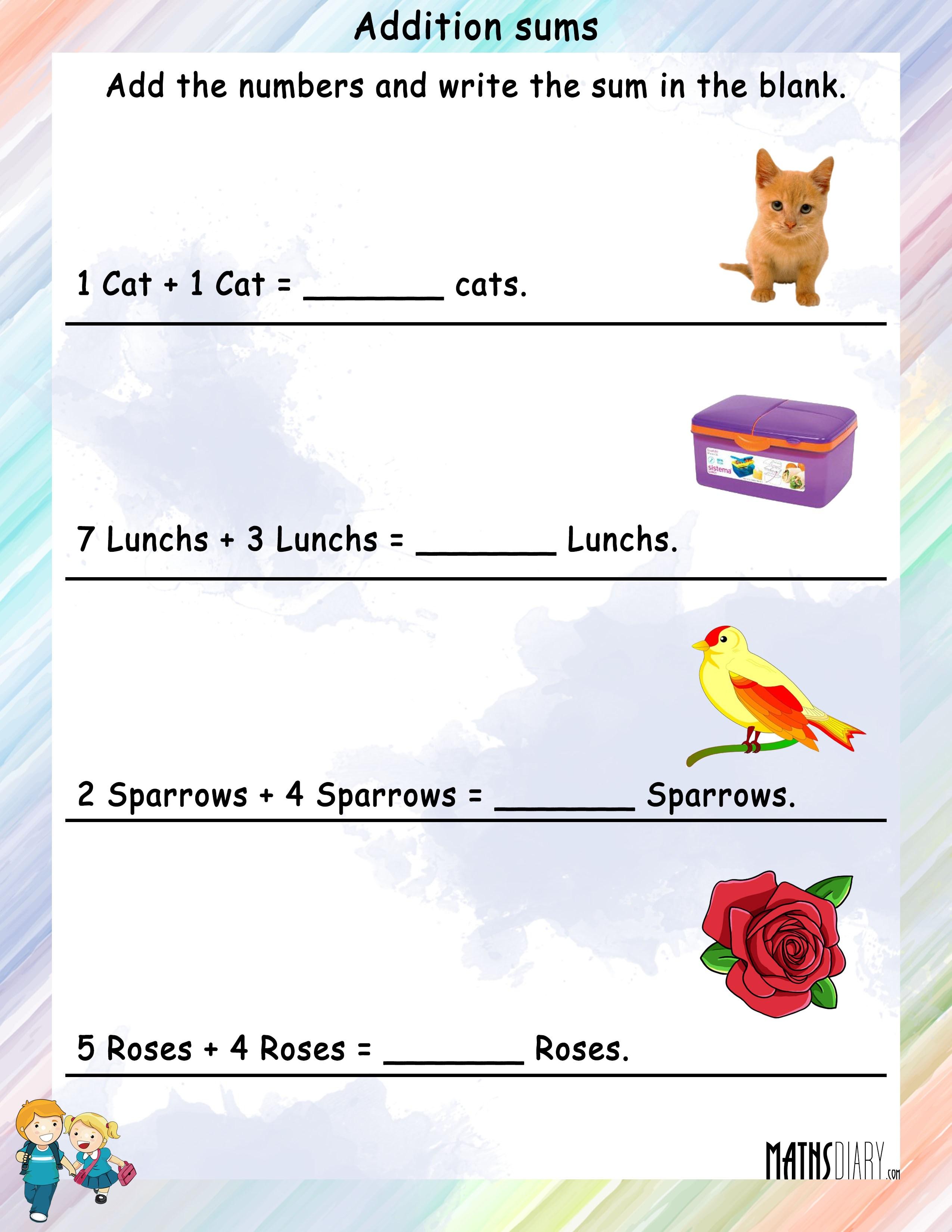 Word Problems Grade 1 Math Worksheets