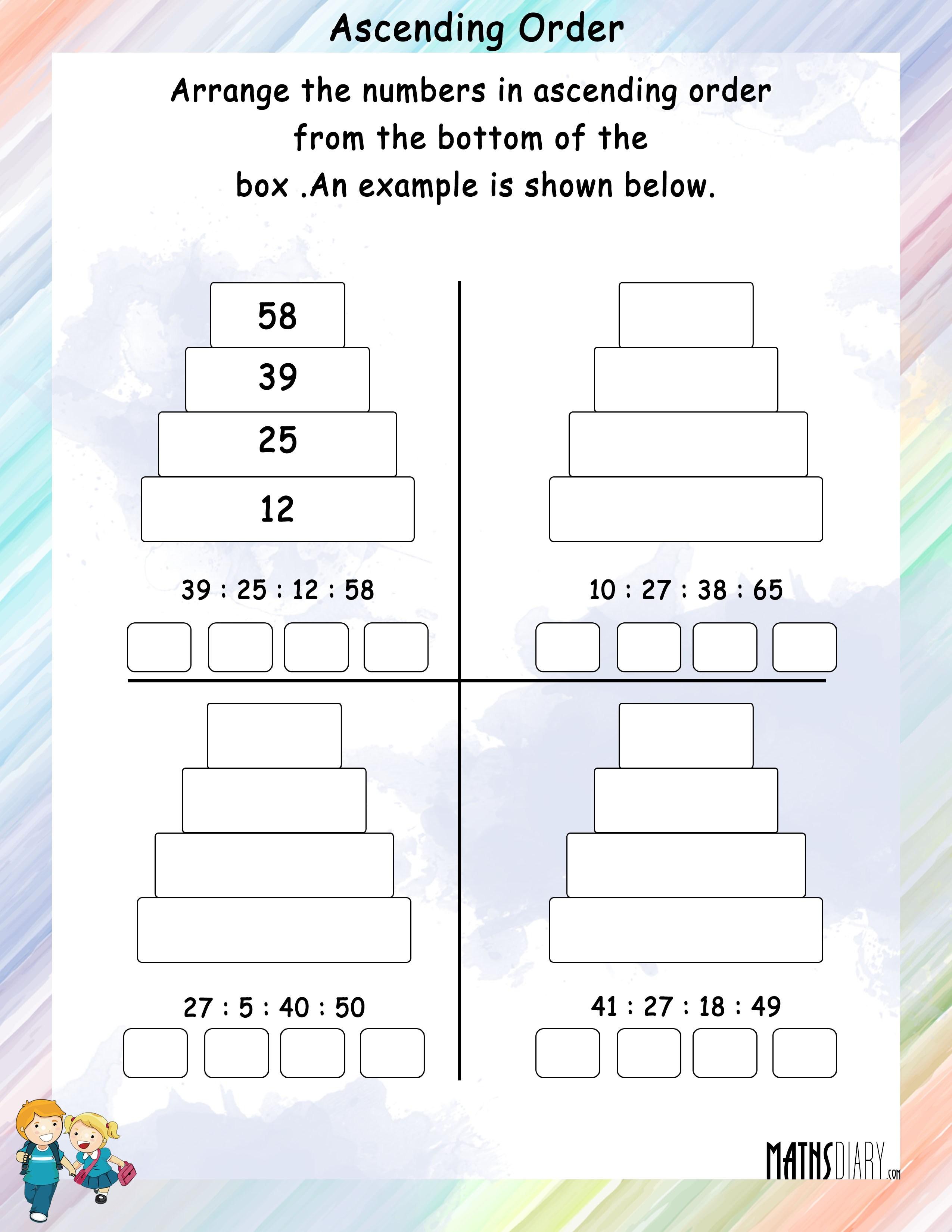 Printables Of Worksheet On Ascending And Descending Order