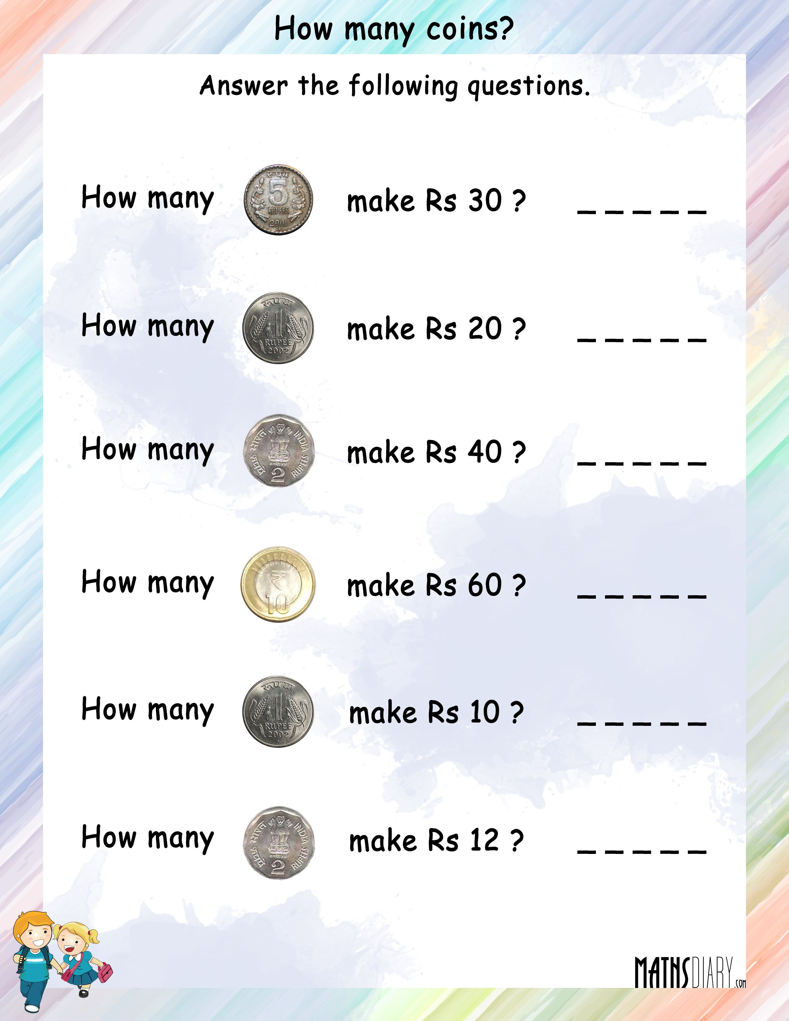 Currency Grade 2 Math Worksheets