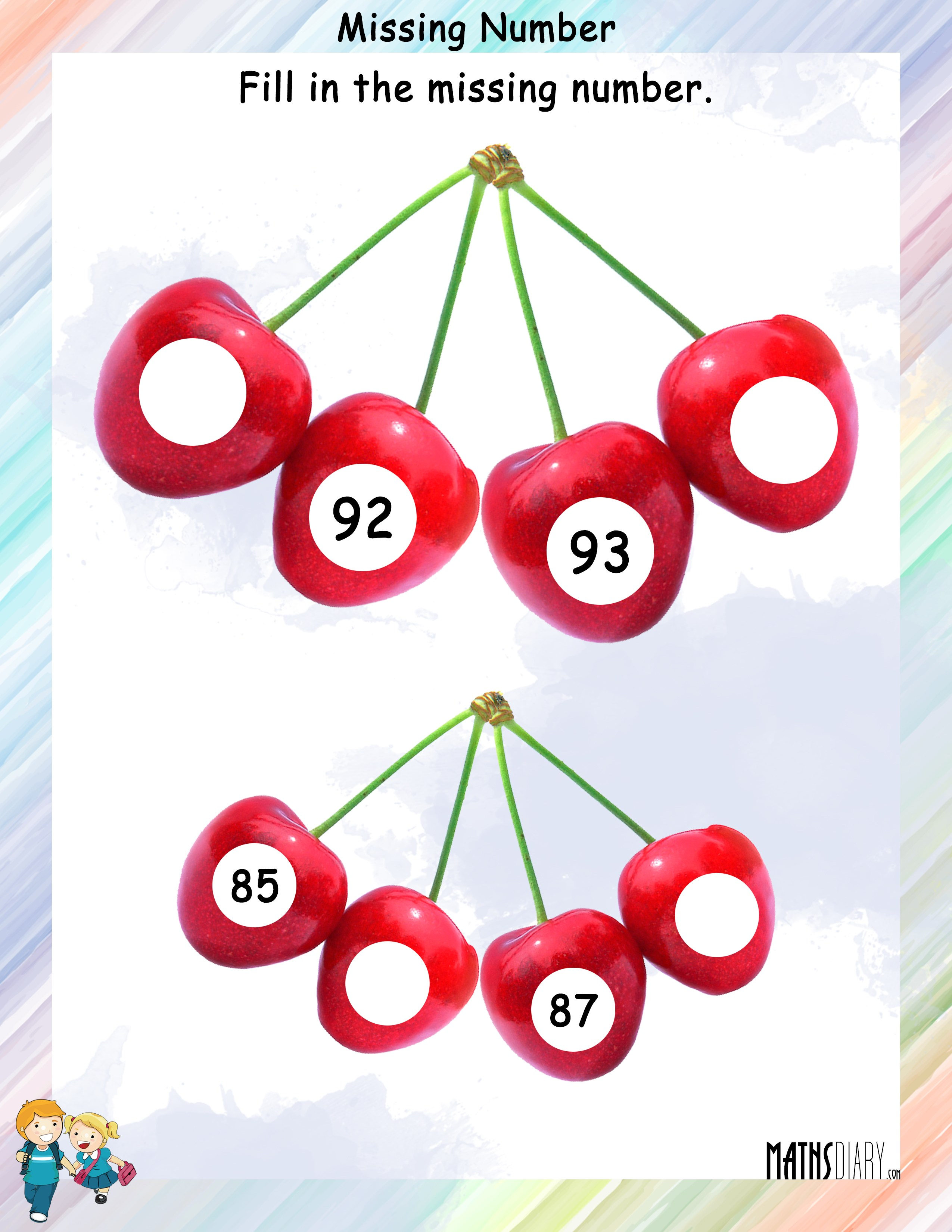 Find The Missing Numbers In The Given Counting
