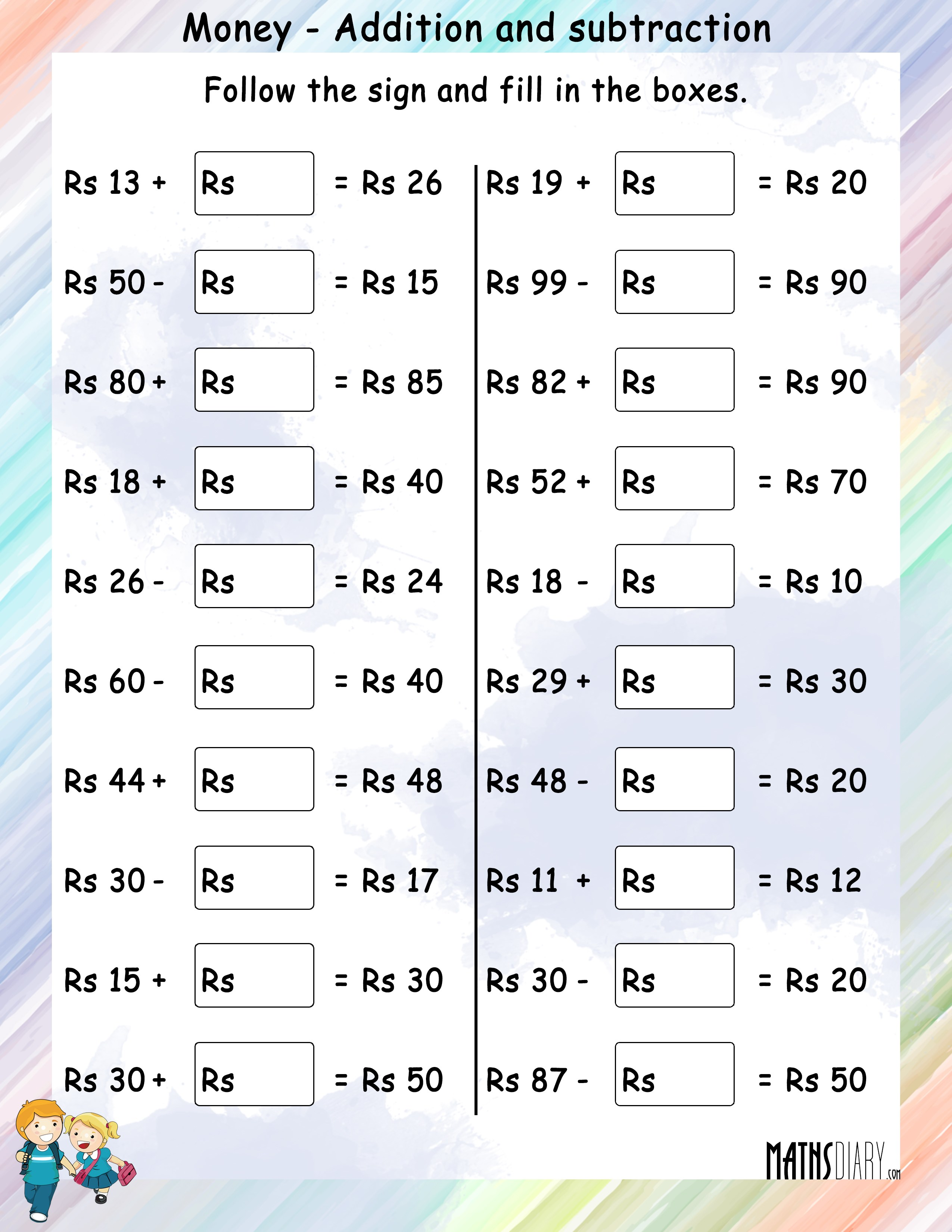 Money Addition And Money Subtraction