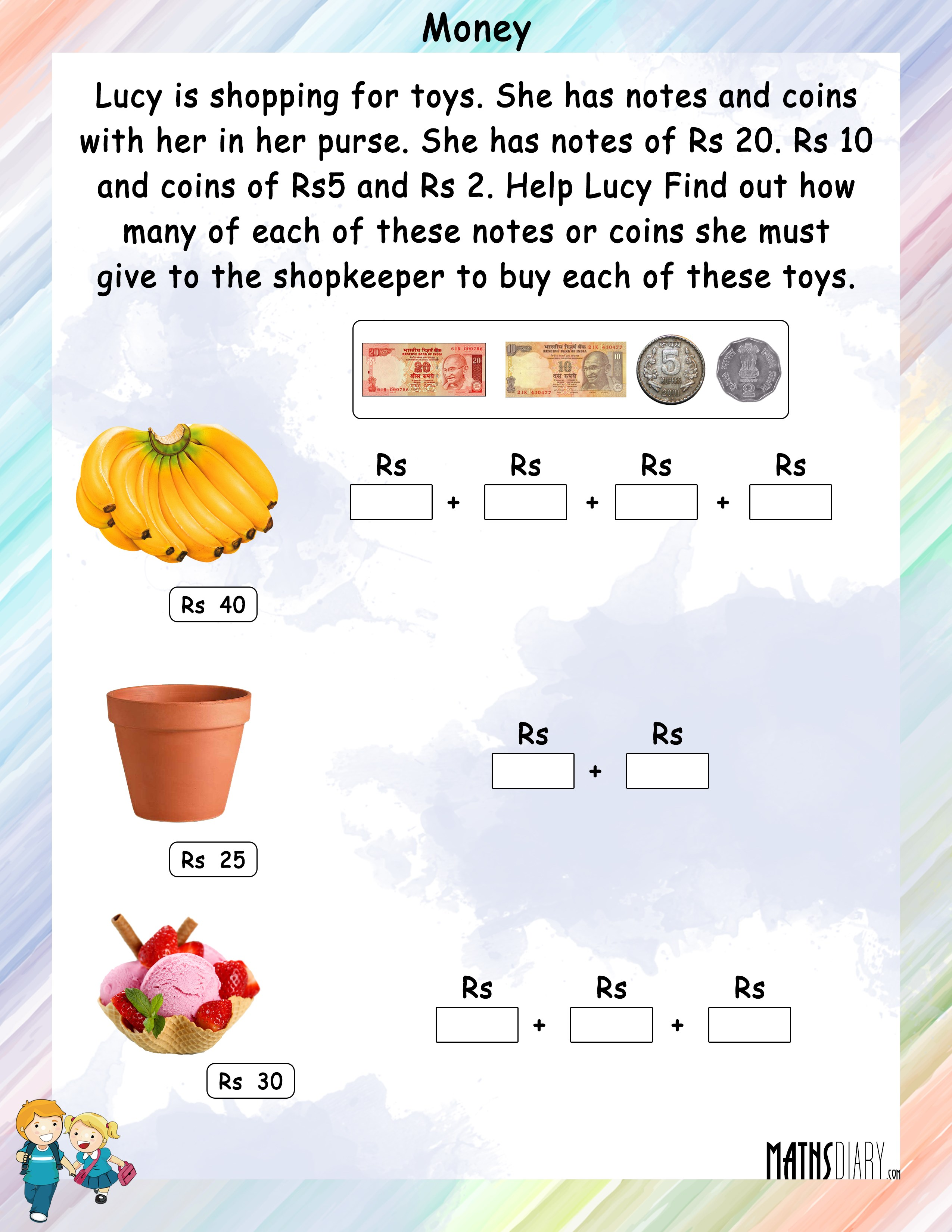 Currency Grade 1 Math Worksheets