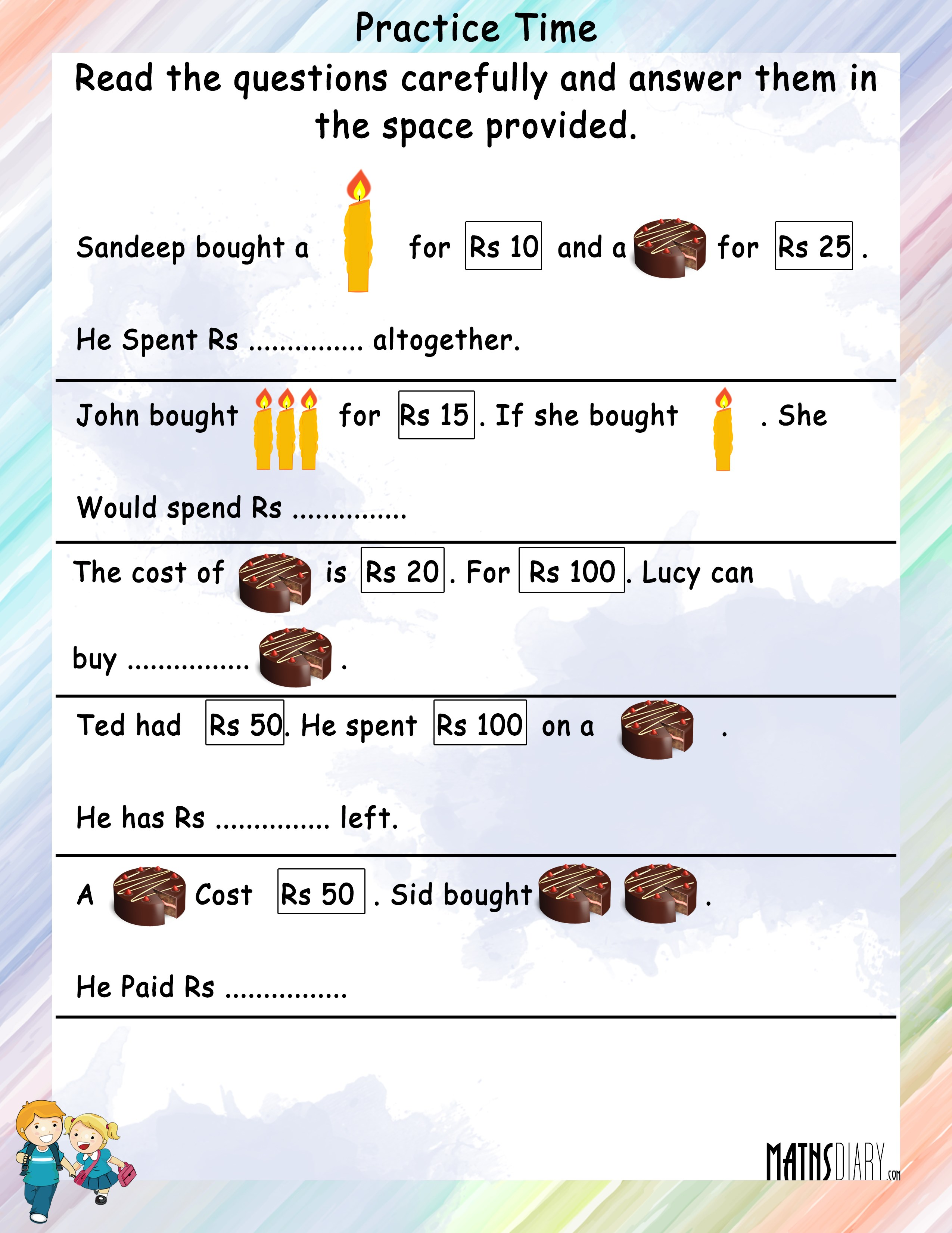 Statement Sums Grade 2 Math Worksheets