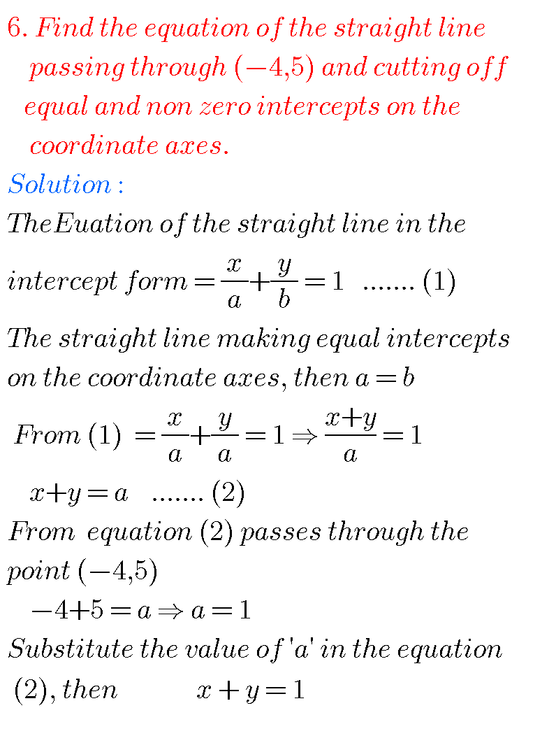 Straight lines,intermediate first year mathematics 1B