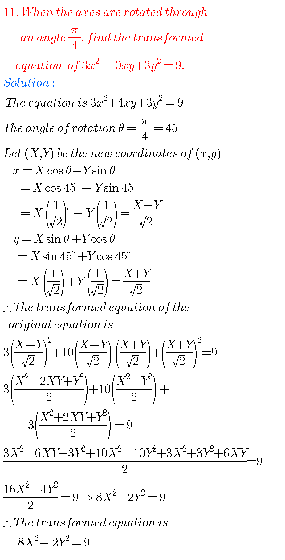 Transformation of axes,intermediate first year 1B chapter 2 problems