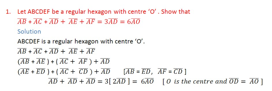 Addition of vectors,intermediate first year mathematics 1A chapter 4
