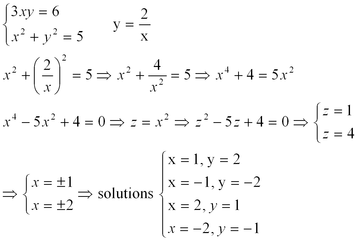Solving Linear Quadratic Systems Worksheet