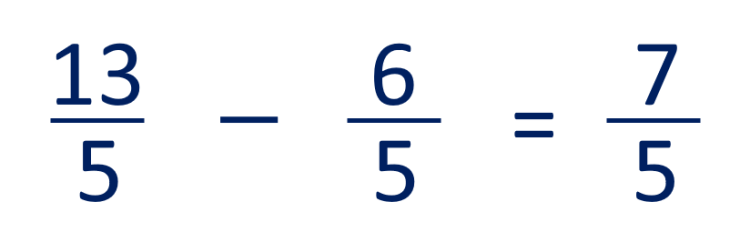 example of subtracting improper like fractions