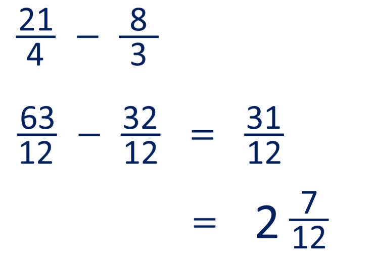 example of how to subtract mixed numbers with unlike denmoninators