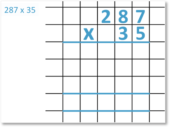 287 x 35 set out in long multiplication method