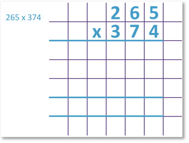 3 digit multiplication 265 x 374 set out as a long multiplication method