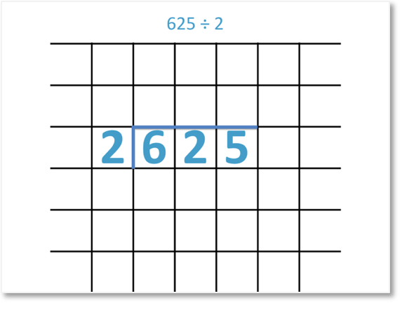 625 divided by 2 set out with the short division method