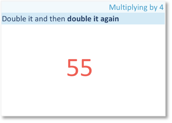how do we multiply 55 by 4 with the doubling strategy