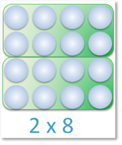 an array of 16 counters arranged in equal parts as the multiplication: 2 x 8