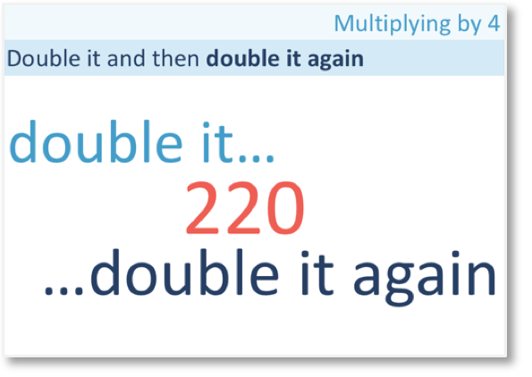 55 x 4 doubled and doubled again to get 220