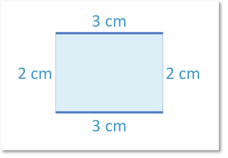 A rectangle of length 3cm and width 2cm and opposite sides are the same length