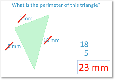 Finding the perimeter of a triangle with sides 5mm, 8mm and 10mm which = 23mm