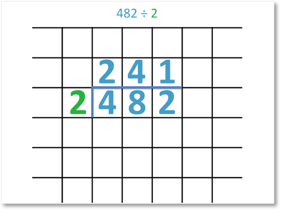 482 divided by 2 = 241 using the short division method