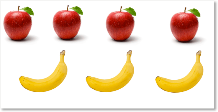 4 apples and 3 bananas collected together